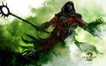 guild wars 2, staff, the sorcerer, green