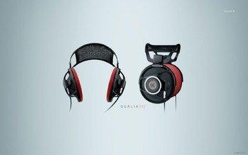 обои, дизайн, фон, наушники, минимализм, hi-tech, сони, qualia 010, в наушниках