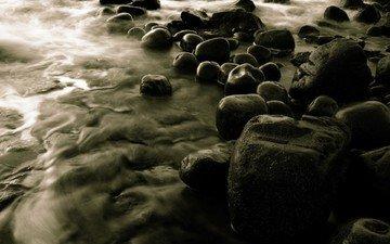 вода, камни, серый