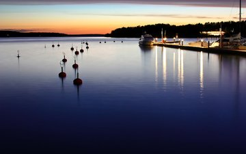 вечер, море, яхта, пристань, катер