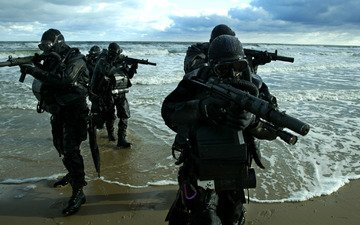 shore, marine special forces, combat, swimmers, sea, machines