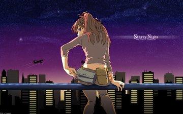 ночь, город, neon genesis evangelion, asuka langly