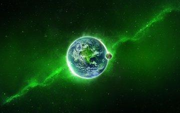 земля, космос, зелёный, звезды, планета, свечение, млечный путь