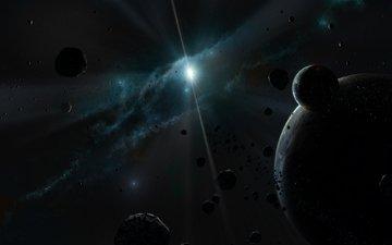 свет, звезды, планеты, туманность, астероиды