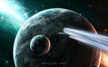 корабли, звезды, планеты, кометы, one billion light years away from earth, звезд