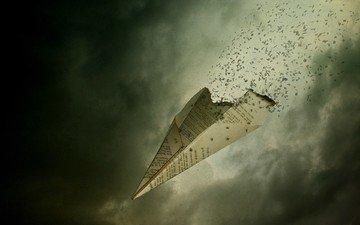 самолет, бумага, буквы, пепел, полет мысли, мысли в никуда