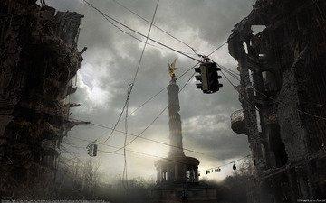 развалины, памятник, светофор
