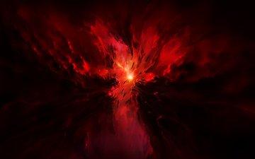 звезды, сияние, свечение, взрыв, краcный, космическая, сгустки, звезд
