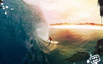 beach, wave, surfing