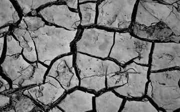 земля, природа, макро, пустыня, чёрно-белое, разлом, трещины, трещина, засуха