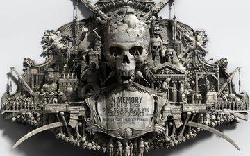 стиль, война, череп, память, на память