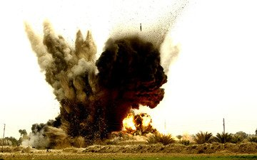 the explosion, bomb, airstrike