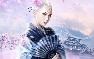 цветы, кимоно, японка, веер