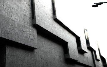серый, здание, кубы, углы