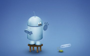 синий, робот, андроид, андройд, баг