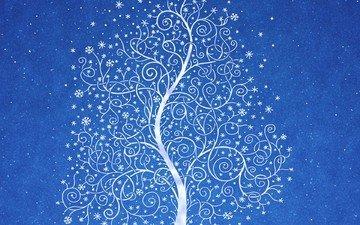 снег, дерево, синий, узор