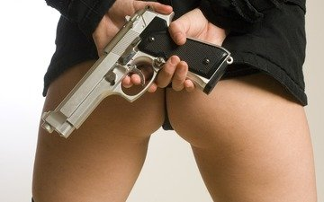girl, gun, ass