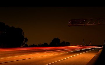 road, night, lights, highway