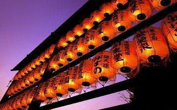 фонари, вечер, япония