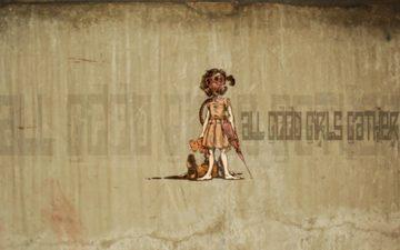мишка, девочка, десктоп, граффити