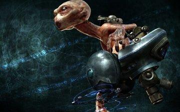 полет, фантастика, монстр, кресло, голова, инопланетянин
