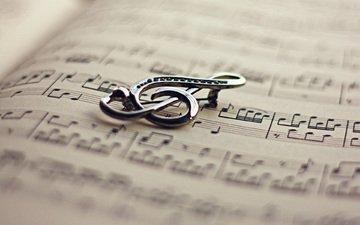 ноты, ключ, книга, скрипичный