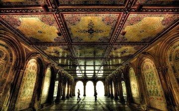 зал, мозаика, комната, арка