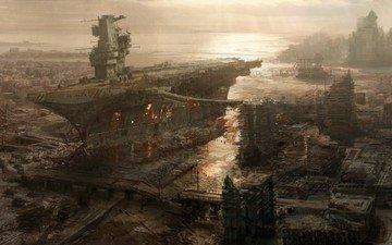 рисунок, корабль, город, авианосец, разрушение, fallout 3