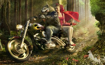 motorcycle, wolf, little red riding hood