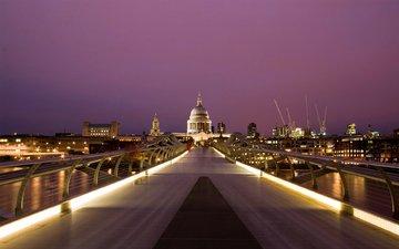 мост, лондон, англия, millennium, saint, paul's, кафедральный