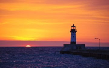 sunset, sea, lighthouse