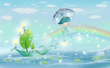 рисунок, радуга, лодка, зонт, акварель