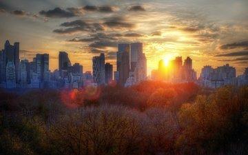 облака, деревья, закат, осень, здания, осен, нью - йорк