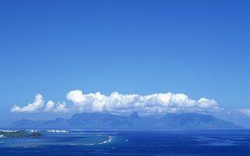облака, горы, море, остров