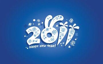новый год, снежинки, уши, число, праздник, дата, заяц, морковь, поздравления, 2011 год