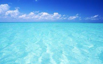 небо, облака, вода, горизонт, голубой, океан