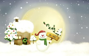 рисунок, новый год, снеговик, рождество