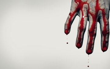 hand, blood, grey background, situation