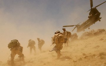 soldiers, the wind, dust, helicopter, afghanistan