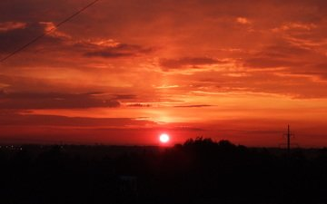 солнце, закат, оранжевое