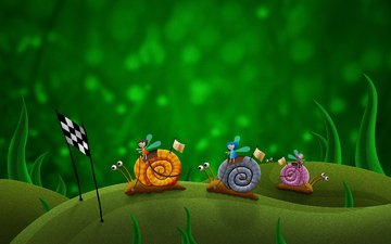 figure, green, race, snails