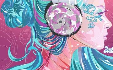 color, girl, vector, headphones, profile, bright, blue hair