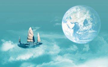 полет, планета, корабль, воздушный