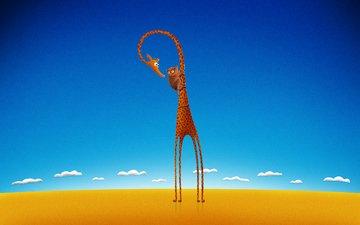 рисунок, жираф, лемур