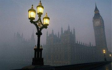 свет, туман, лондон, часы, башня, англия, фонарь, смог, биг бен