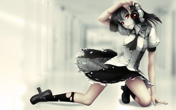 аниме, aya shameimaru, красная нить, красные глаза, аппарат, тохо