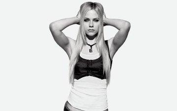 блондинка, взгляд, черно-белая, аврил лавин, avril lavigne whibley