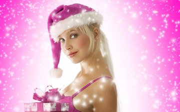 блондинка, подарки, снегурка