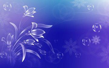 цветочки, пузырики, на голубом фоне