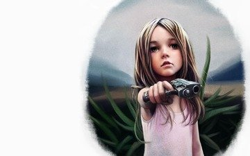 figure, gun, girl